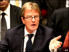 French Foreign Minister Bernard Kouchner speaking at the UN Security Council on 26 September 2008.
