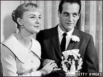 Joanne Woodward y Paul Newman, el día de su boda