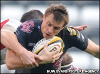 Tommy Bowe scored Ospreys' fourth try against former side Ulster