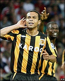 Geovanni celebrates scoring his first goal for Hull