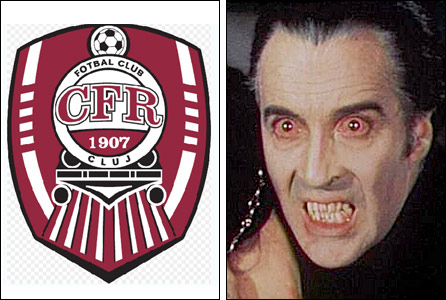 The Cluj club badge and Count Dracula - or Christopher Lee