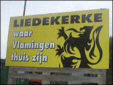 "Sign in Liekerke: ""Where the Flemish are at home."""
