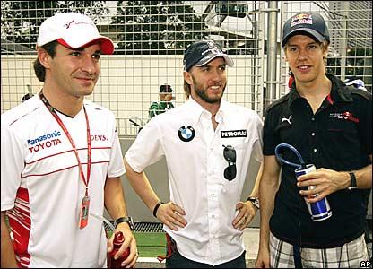 Timo Glock, Nick Heidfeld, Sebastian Vettel