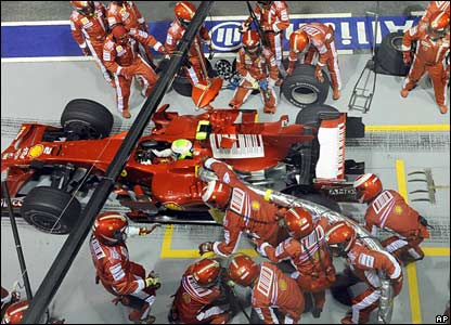 Felipe Massa and Ferrari crew