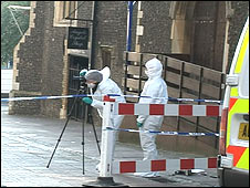 The area on Gaol Hill cordoned off by police following the assault