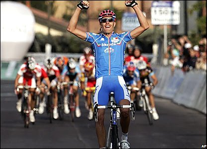 Italy's Alessandro Ballan wins the men's road race