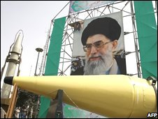 Iranian missile on display in Tehran