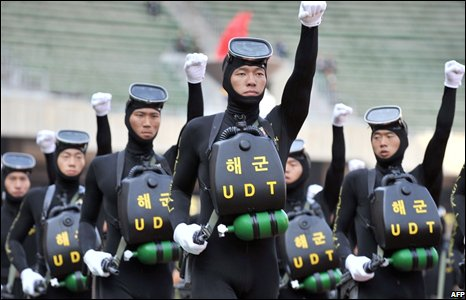 South Korean soldiers training in Seoul
