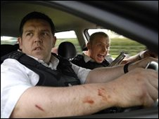 Nick Frost and Simon Pegg in Hot Fuzz