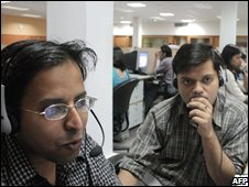Indian employees of the Quark call center work during their night shift, late 09 May 2005 in Mohali, Northern India
