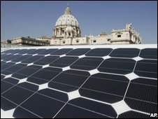 Solar tiles in front of St Peter's Basilica, Rome, Italy