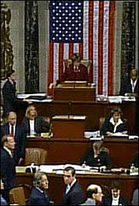 En la C�mara de Representantes durante el voto.