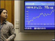 Man looks on as a screen shows Hong Kong's Hang Seng index rebounding from early sharp falls