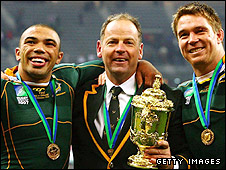 South Africa wing Bryan Habana, head coach Jake White and skipper John Smit