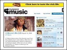 Screengrab of MySpace music page, AP