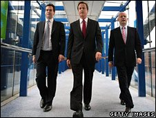 George Osborne, David Cameron and William Hague at the conference