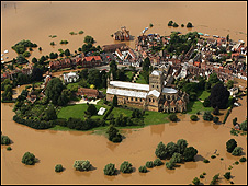 Town cut off by flood water (Getty Images)