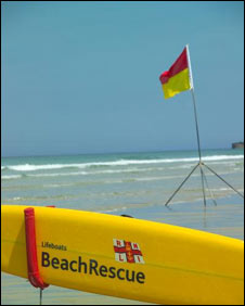 RNLI Lifeguard flag and board: Pic RNLI