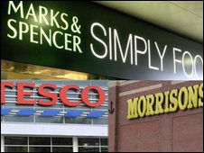 M&S, Tesco and Morrisons signs