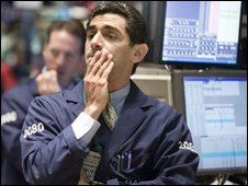 Anxious traders on the floor of the New York Stock Exchange on Tuesday 30 September 2008