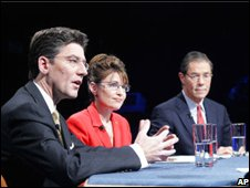 Sarah Palin debated Andrew Halcro and Tony Knowles during the 2006 Alaska gubernatorial race