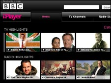 Screengrab of iPlayer homepage, BBC