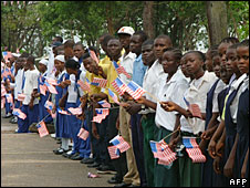 Students line up to greet President George Bush in Monrovia, Liberia, 21 February 2008