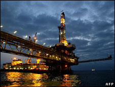 File photo of oil platform off Angola, September 2003