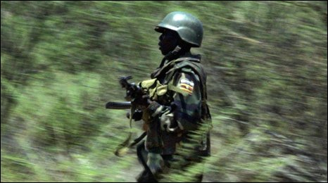 US-trained Ugandan soldier running