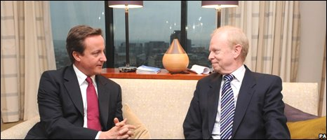 Conservative leader David Cameron and UUP leader Sir Reg Empey