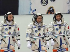 Chinese astronauts before the launch of the Shenzhou 7 space craft in Gansu province on 25 September 2008
