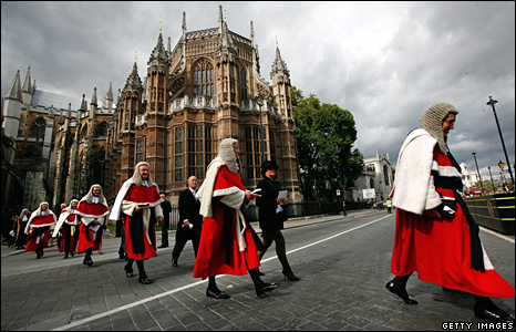 British judges process towards the House of Commons after a service at Westminster Abbey in London