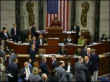 House of Representatives voting on teh bail-out bill.