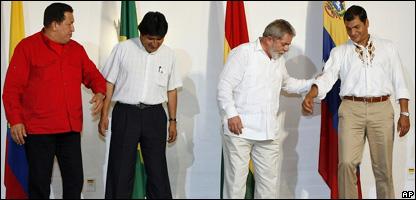 Los presidentes de Brasil, Ecuador, Venezuela y Bolivia en la cumbre de Manaos