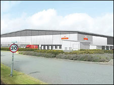 Artist's impression of the planned new sorting office in Northampton