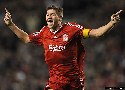 Steven Gerrard celebrates scoring his 100th goal for Liverpool
