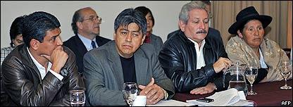 Prefectos Ernesto Suárez, de Beni, Mario Cossío, de Tarija, Rubén Costas, de Santa Cruz, y Sabina Cuéllar, de Chuquisaca