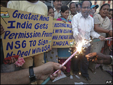 Indians greeting the nuclear deal with the US