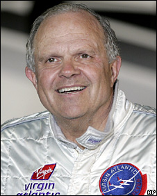 Steve Fossett speaks at Kent International Airport, UK (11 February 2006)