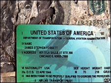 Pilot's licence believed to belong to Steve Fossett and a torn $100 bill found in eastern California (1 October 2008)