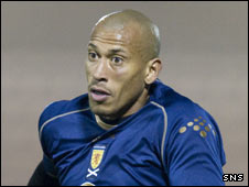 Chris Iwelumo in action for Scotland B