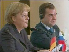 German Chancellor Angela Merkel and Russian President Dmitry Medvedev