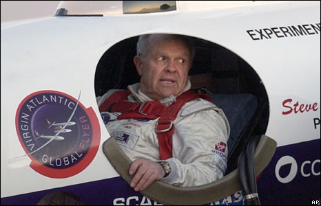 Steve Fossett before embarking on a trip to fly round the world non-stop without refueling, in February 2005