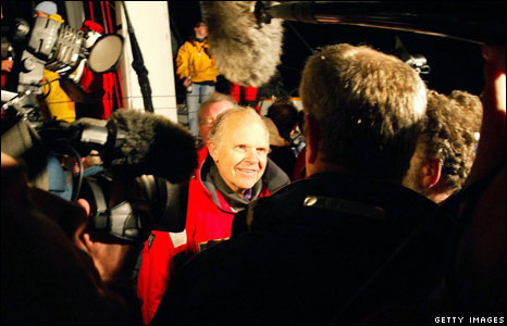 Steve Fossett gives media interviews after his sailing world record in 2004