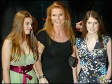 Sarah Ferguson, the Duchess of York and her daughters, Princesses, Beatrice (left) and Eugenie