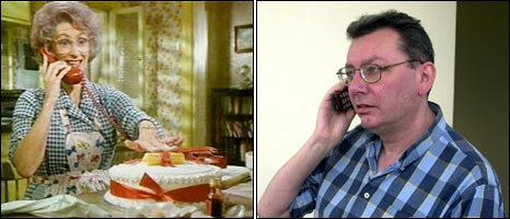 Maureen Lipman as Beattie in the 1980s advert and a man on a phone
