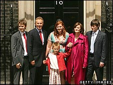 The Blair family leaving Downing Street
