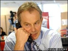 Tony Blair on the phone