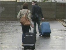 Edensor Technology College staff with suitcases