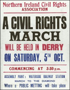 A poster advertising the march in Derry on 5 October, 1968.  Pic courtesy Museum of Free Derry